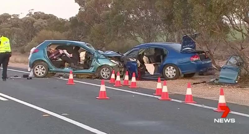 The scene of the crash on Sturt Highway (pictured)