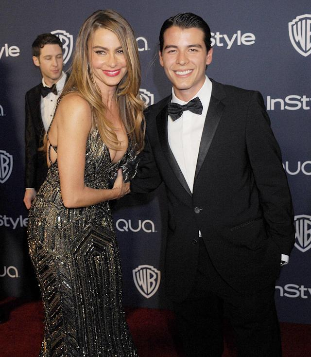 <p>Actress Sofia Vergara became mother to son Manolo Gonzalez-Ripoll Vergara when she was 19 years old. (Photo by Gregg DeGuire/WireImage) </p>