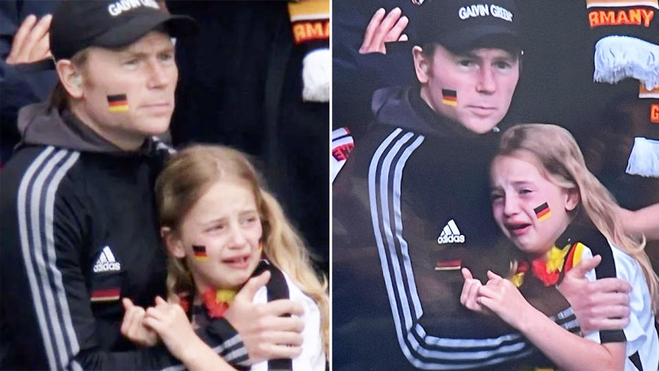 England fans, pictured here cheering the sight of a young German fan crying.