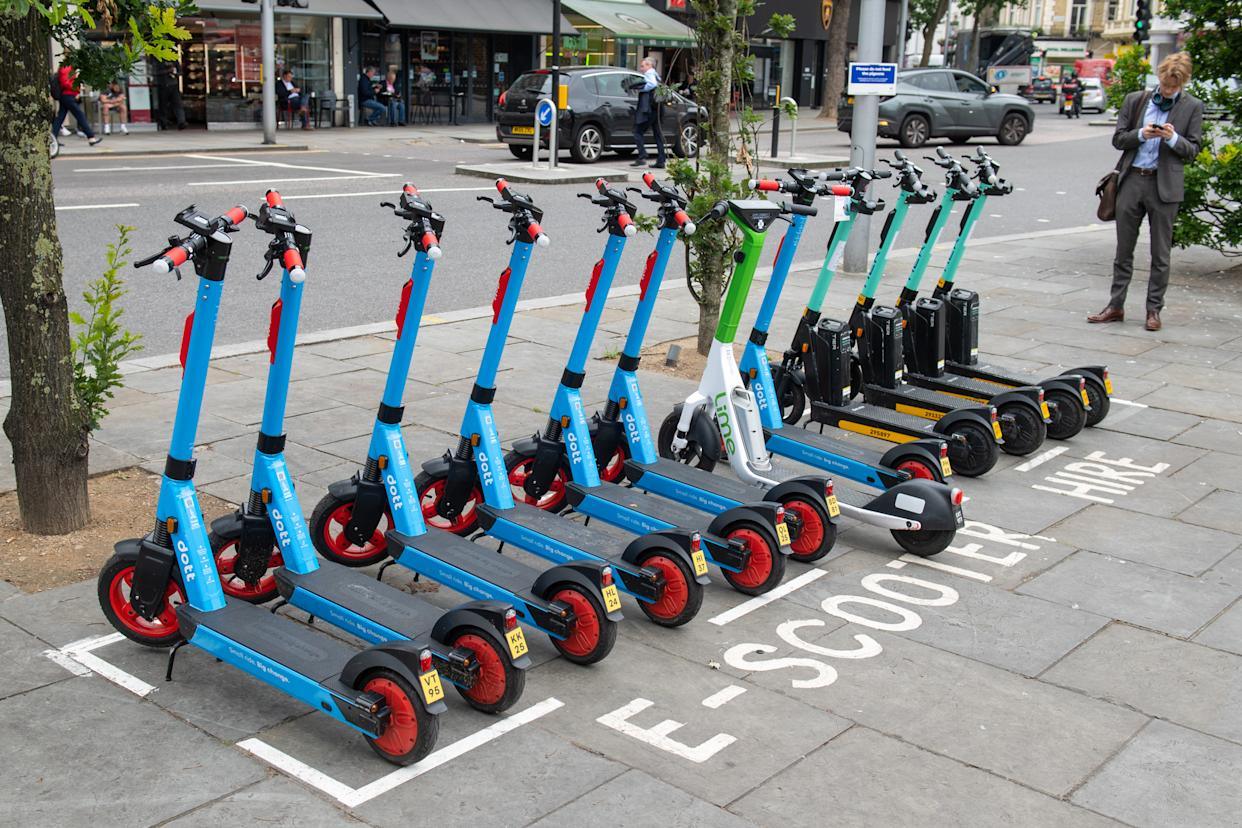 General view of E-Scooters operated by Dott, Lime and Tier at an E-Scooter hire point in Kensington, west London Picture date: Tuesday June 29, 2021. (Photo by Dominic Lipinski/PA Images via Getty Images)