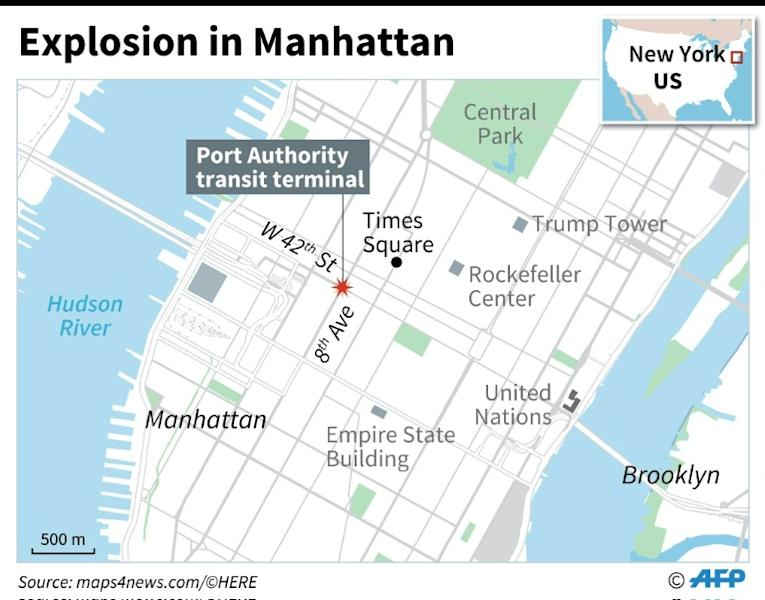 Map of Manhattan locating Monday's explosion
