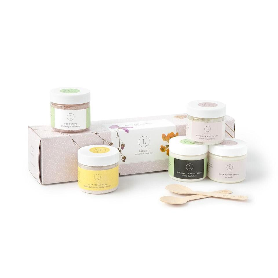 <p>Treat them to a spa day with this <span>Head-to-Toe Home Spa Gift Set</span> ($49).</p>