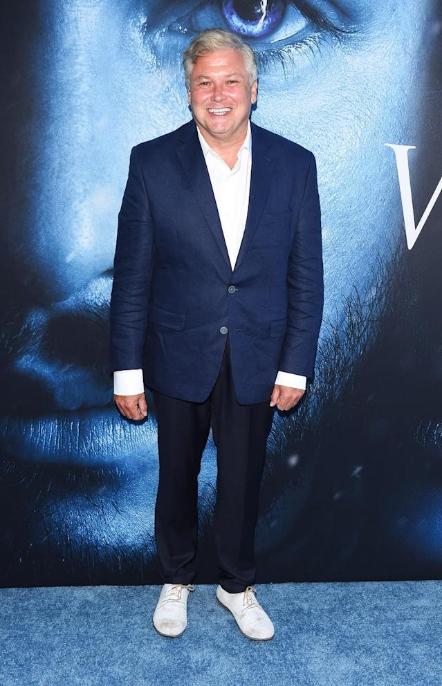 <p>The actor who plays Varys looked unrecognisable in a navy suit and white shoes. (Photo: Rex) </p>