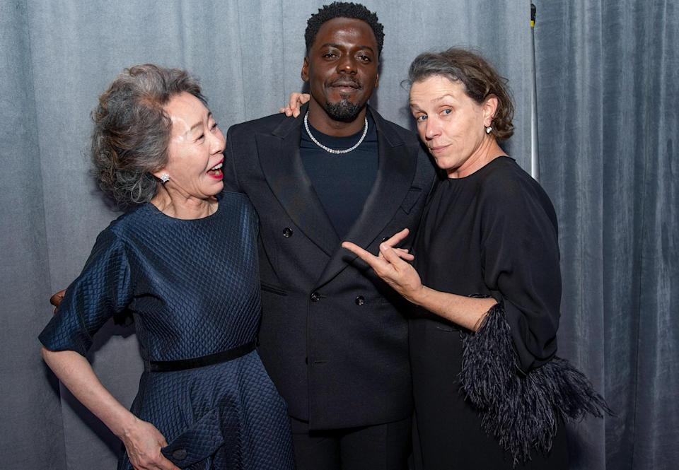 """<p>Acting winners Youn Yuh-jung (Best Supporting Actress, <em>Minari</em>), Daniel Kaluuya (Best Supporting Actor, <em>Judas and the Black Messiah</em>) and Frances McDormand (Best Actress, <em>Nomadland</em>) buddy up backstage at the Oscars at Union Station in Los Angeles on Sunday night. The Best Actor winner, Sir Anthony Hopkins of <em>The Father</em>, <a href=""""https://people.com/movies/oscars-2021-anthony-hopkins-honors-chadwick-boseman-acceptance-speech-video-instagram/"""" rel=""""nofollow noopener"""" target=""""_blank"""" data-ylk=""""slk:was in Wales"""" class=""""link rapid-noclick-resp"""">was in Wales</a> and unable to attend the ceremony in-person or virtually.</p>"""