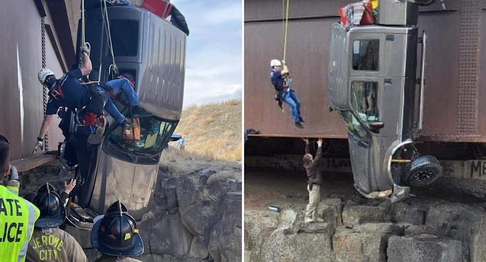 Rescuers save people from a ute dangling off the Malad Gorge bridge.
