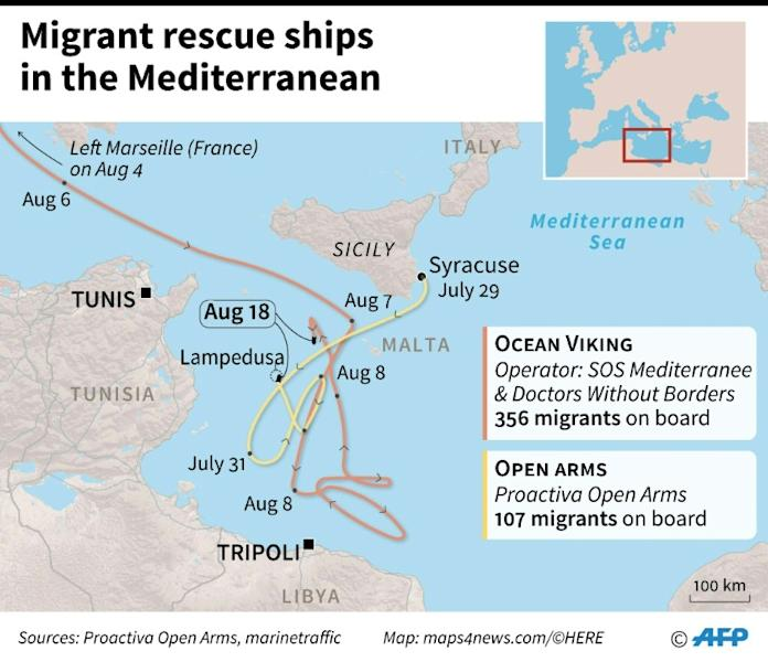 Routes taken by charity ships Ocean Viking and Open Arms to rescue migrants in the Mediterranean (AFP Photo/Jorge MARTINEZ)