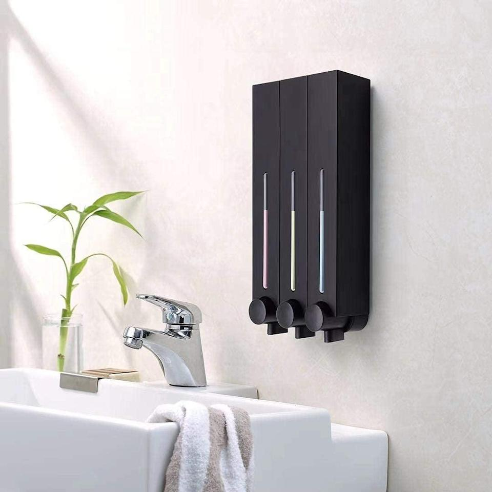 <p>If you don't have space for bottles in your shower, the <span>Balmyspace Refillable Wall-Mount Shower-Dispenser</span> ($80) lets you consolidate it all for a sleek, hotel-like look.</p>