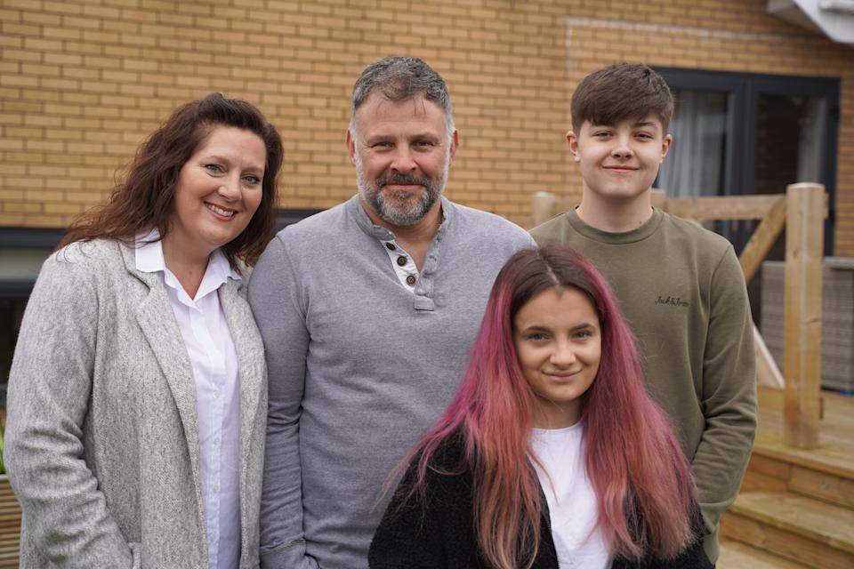 The White Family from North Wales (l-r) Mum Ellie, Dad Mark, Daughter Eryn and son Leon. (ITV)