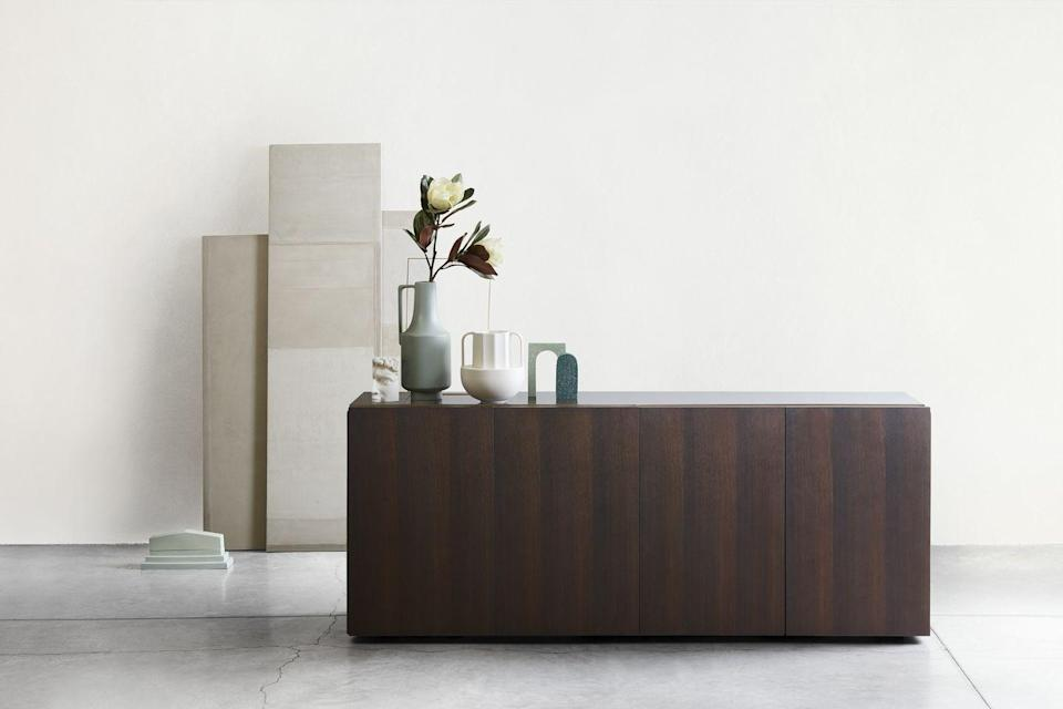 """<p>The monolithic 'Florens' sideboard is Italian design duo Oscar and Gabriele Buratti's first piece for furniture brand Lema. Ensuring nothing detracts from the beautiful grain of its sleek treated-oak doors, a concealed bronze-painted groove in the top acts as a handle, while hidden joints accentuate its seamless look from every angle. From £6,500, <a href=""""https://www.lemamobili.com/"""" rel=""""nofollow noopener"""" target=""""_blank"""" data-ylk=""""slk:lema-uk.com"""" class=""""link rapid-noclick-resp"""">lema-uk.com</a></p>"""
