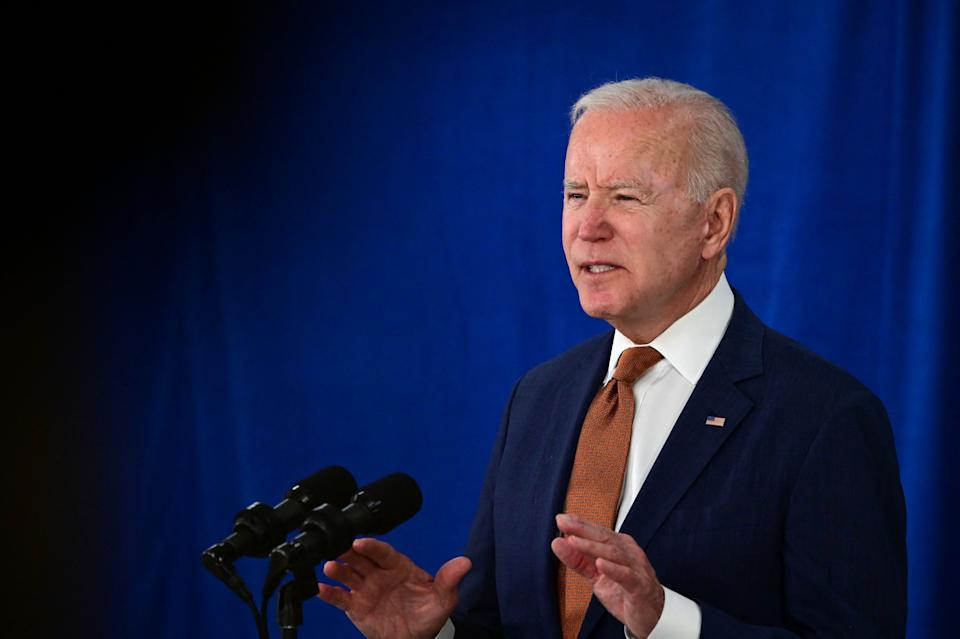 US President Joe Biden speaks about the May jobs report on June 4, 2021, at the Rehoboth Beach, Delaware, Convention Center. (Jim Watson/AFP via Getty Images)