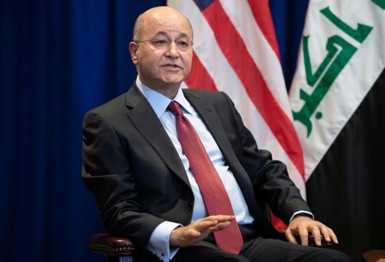 Iraqi President Barham Saleh said he would quit rather than accept a pro-Iran coalition's candidate for prime minister (AFP Photo/SAUL LOEB)