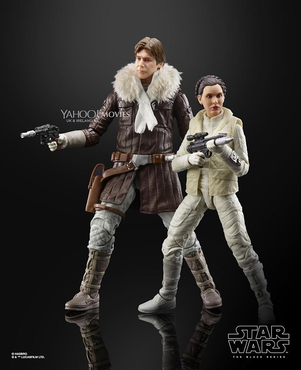 The HAN SOLO and PRINCESS LEIA ORGANA figures are carefully detailed to look like the characters from STAR WARS: THE EMPIRE STRIKES BACK, featuring premium detail and multiple points of articulation. The item includes two 6-inch figures and four accessories. (Hasbro)