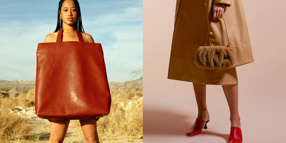 """<p>With the Fall/Winter '21 fashion month still happening, a bunch of new (and, okay, some not-so-new) trends have popped up <em>alllll</em> over the runways. The bag trends for the season are super cute, and though next <a href=""""https://www.cosmopolitan.com/fall-fashion/"""" rel=""""nofollow noopener"""" target=""""_blank"""" data-ylk=""""slk:fall"""" class=""""link rapid-noclick-resp"""">fall</a> may feel like ages away, we simply couldn't wait to highlight all these gorgeous styles, from chainlink straps to coin purse clasps and more. Whether you're out and about in your <a href=""""https://www.cosmopolitan.com/style-beauty/fashion/g31814564/best-sweatpants-for-women/"""" rel=""""nofollow noopener"""" target=""""_blank"""" data-ylk=""""slk:sweatpants"""" class=""""link rapid-noclick-resp"""">sweatpants</a> and want an accessory to dress up your comfy look or you're looking to <a href=""""https://www.cosmopolitan.com/style-beauty/fashion/a35585878/types-of-aesthetics/"""" rel=""""nofollow noopener"""" target=""""_blank"""" data-ylk=""""slk:change up your style"""" class=""""link rapid-noclick-resp"""">change up your style</a> completely, there is definitely a bag trend that you'll love to see (and wear) below.</p><p> With this <a href=""""https://www.cosmopolitan.com/style-beauty/fashion/g34145908/spring-2021-bag-trends/"""" rel=""""nofollow noopener"""" target=""""_blank"""" data-ylk=""""slk:spring"""" class=""""link rapid-noclick-resp"""">spring</a> slowly creeping in, I'm getting ahead of myself by saying, yes, I'm already looking forward to the upcoming fall season just so I can wear some of these cool pieces! And if you're in the mood to peruse even more fall fashion, click the links for the <a href=""""https://www.cosmopolitan.com/style-beauty/fashion/g35578469/fall-2021-shoe-trends/"""" rel=""""nofollow noopener"""" target=""""_blank"""" data-ylk=""""slk:shoe trends"""" class=""""link rapid-noclick-resp"""">shoe trends</a> and <a href=""""https://www.cosmopolitan.com/style-beauty/fashion/g35550887/fall-2021-fashion-trends/"""" rel=""""nofollow noopener"""" target=""""_blank"""" data-ylk=""""slk:overall fashion trends"""" cla"""