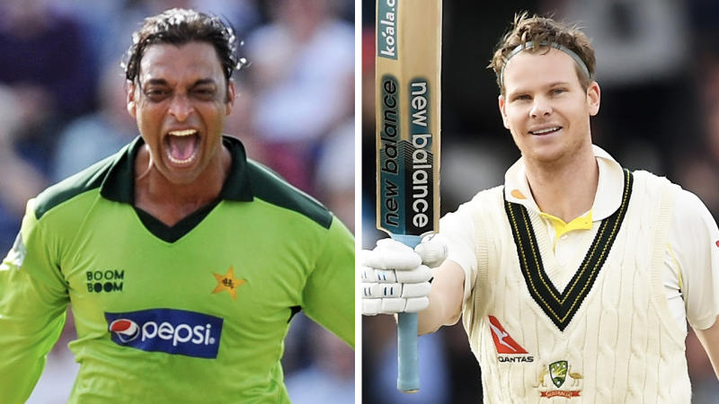 Former fast-bowler Shoaib Akhtar (pictured left) celebrating a wicket and Steve Smith (pictured right) celebrating a century.