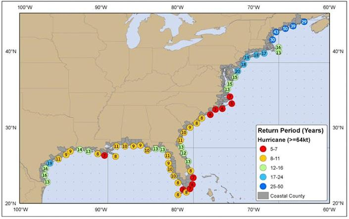 A map shows return rate for hurricanes at communities along the coast