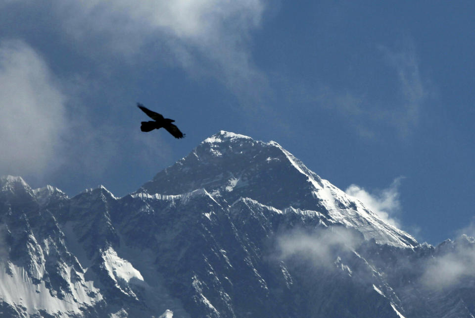 FILE - In this May 27, 2019, file photo, a bird flies as Mount Everest is seen from Namche Bajar, Solukhumbu district, Nepal. Expedition operators on Mount Everest say that Chinese mountaineering officials will not allow spring climbs from their side of the mountain due to fears of the coronavirus. (AP Photo/Niranjan Shrestha, File)