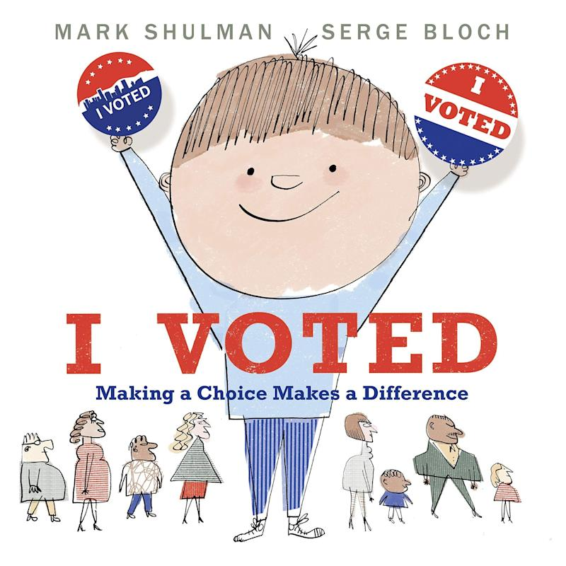 """""""I Voted"""" uses concepts like favorite desserts and class pets to explain voting and breaks down the organization of our government for kids.<i>(Available <a href=""""https://www.amazon.com/Voted-Making-Choice-Makes-Difference/dp/0823445615"""" target=""""_blank"""" rel=""""noopener noreferrer"""">here</a>)</i>"""
