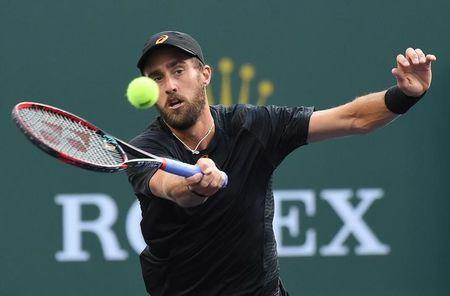 Mar 14, 2017; Indian Wells, CA, USA; Steve Johnson (USA) during his match against Roger Federer (not pictured) in the BNP Paribas Open at the Indian Wells Tennis Garden. Mandatory Credit: Jayne Kamin-Oncea-USA TODAY Sports