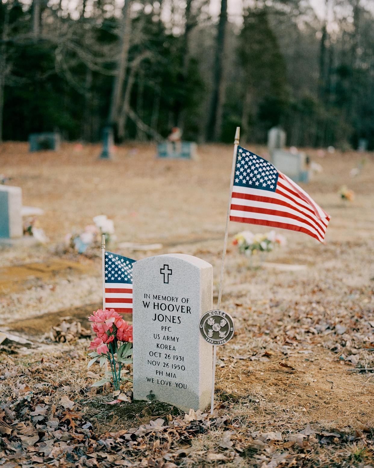 Hoover's head stone in North Carolina, photographed in February; the grave below remains empty.