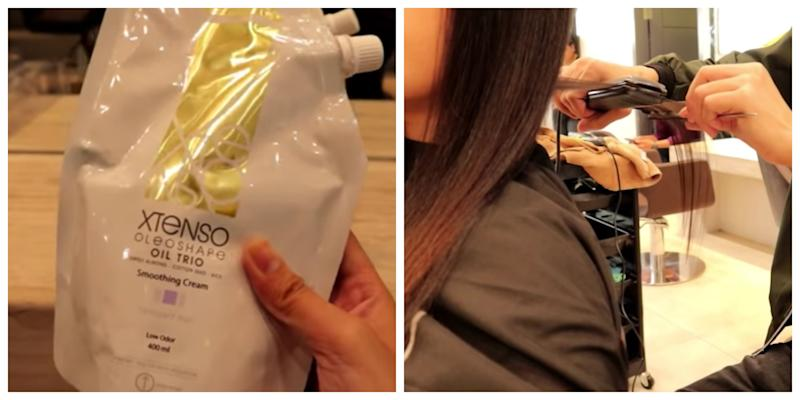 Vlogger Linexoxo (right) having her hair rebonded at a salon. Left is the rebonding cream used on her hair. Screenshot from Line xoxo's YouTube video