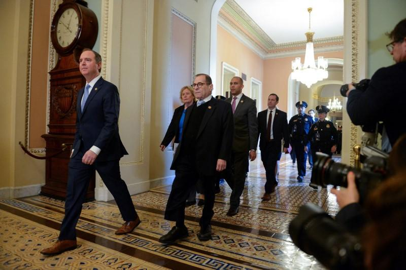 House Managers Rep. Adam Schiff (D-CA) and Rep. Jerry Nadler (D-NY) walk to the Senate Floor for the start of the Senate impeachment trial of U.S. President Donald Trump in Washington