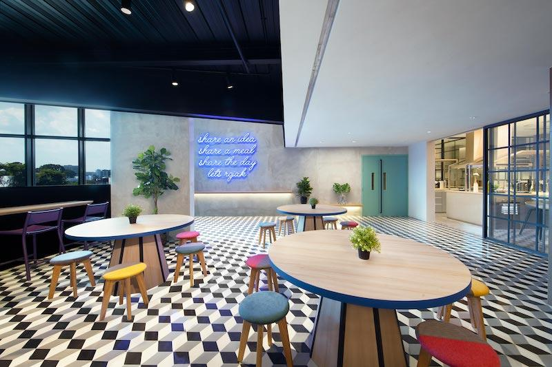 The communal and kitchen area. Photo: lyf Funan Singapore