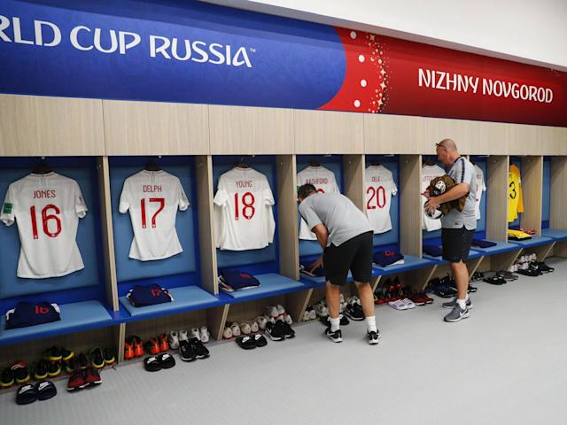 <p>England's kit is laid out </p>
