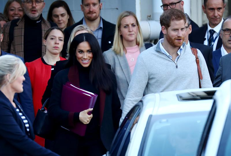 OCTOBER 15, 2018: SYDNEY, NSW - (EUROPE AND AUSTRALASIA OUT) Prince Harry, Duke of Sussex and Meghan, Duchess of Sussex arrive into Sydney International Airport in Sydney, New South Wales. Prince Harry and Meghan Markle are in Sydney ahead of the Invictus Games. (Photo by Hollie Adams/Newspix/Getty Images)