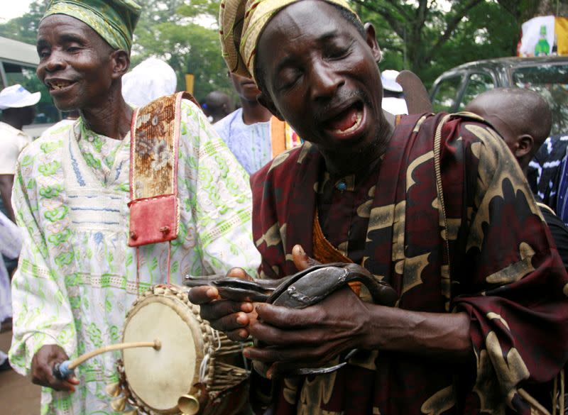 "FILE PHOTO: Worshipers of the Osun sacred river attend the annual worship festival in honour of the river goddess ""Osun"" in Osogbo"