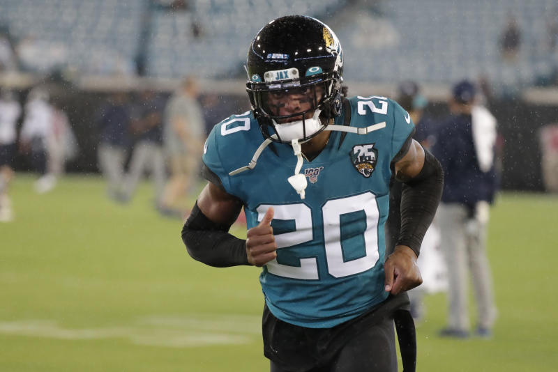 Jacksonville Jaguars cornerback Jalen Ramsey (20) warms up before an an NFL football game against the Tennessee Titans, Thursday, Sept. 19, 2019, in Jacksonville, Fla. (AP Photo/John Raoux)