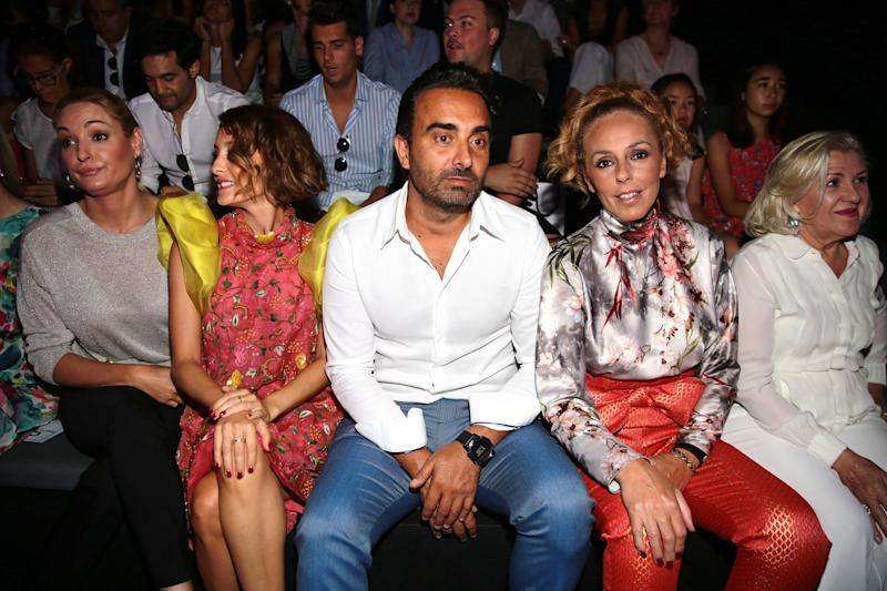 MADRID, SPAIN - JULY 10: (2nd L-R) Anabel Duenas, Rocio Carrasco and Fidel Albiac attend the Hannibal Laguna show at Mercedes Benz Fashion Week Madrid Spring/ Summer 2019 on July 10, 2018 in Madrid, Spain. (Photo by Europa Press/Europa Press via Getty Images)