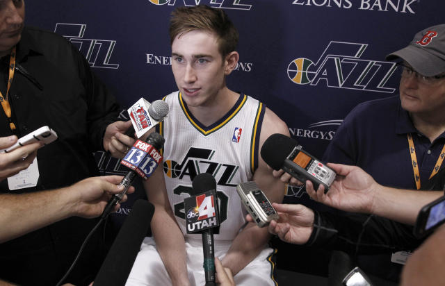 Utah Jazz player Gordon Hayward answers questions at the NBA basketball teams media day in Salt Lake City, Friday, Sept. 30, 2013. (AP Photo/George Frey)
