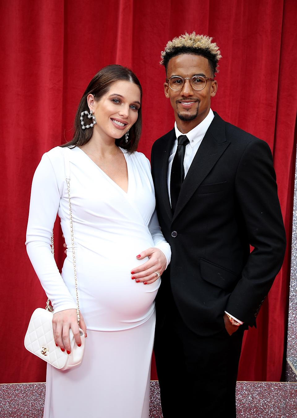 LONDON, ENGLAND - JUNE 02:  Helen Flanagan and Scott Sinclair attend the British Soap Awards 2018 at Hackney Empire on June 2, 2018 in London, England.  (Photo by Mike Marsland/Mike Marsland/WireImage)