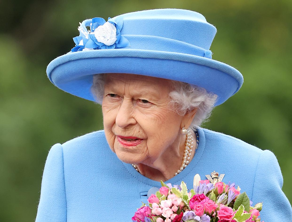 Queen Elizabeth II inspects an Honour Guard at the Palace Of Holyrood House during the Ceremony of The Keys on June 28, 2021 in Edinburgh, Scotland.