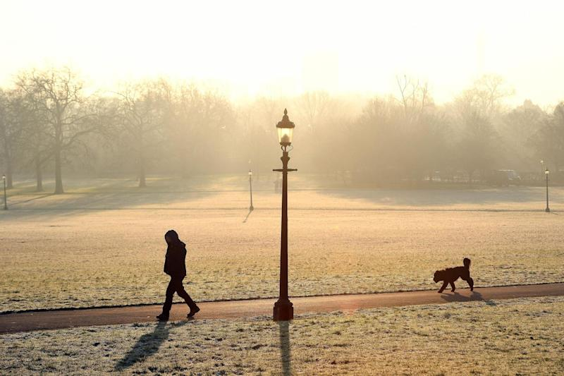 Cold weather: A frosty sunrise over Primrose Hill: PA