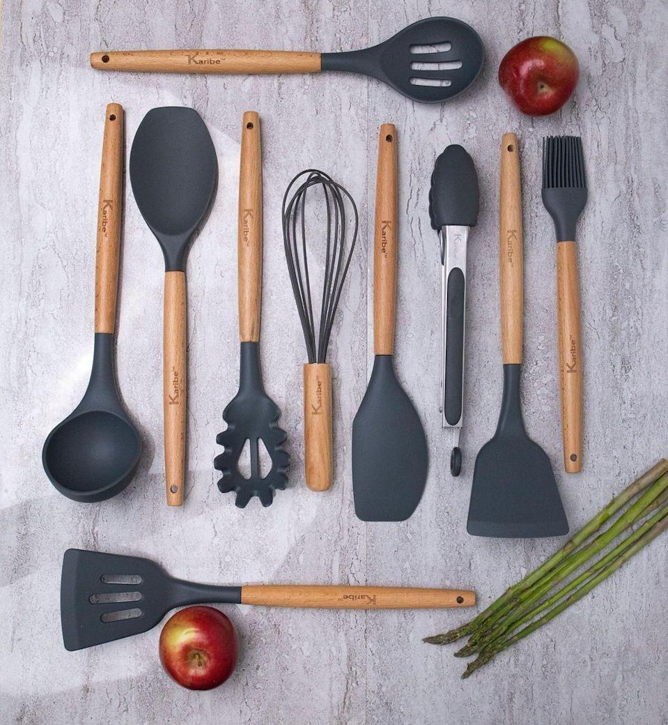 """<p>karibecompany.com</p><p><strong>$45.99</strong></p><p><a href=""""https://karibecompany.com/shop-online/karibe-utensil-set"""" rel=""""nofollow noopener"""" target=""""_blank"""" data-ylk=""""slk:BUY NOW"""" class=""""link rapid-noclick-resp"""">BUY NOW</a></p><p>This 10-piece set comes with virtually every utensil any home chef could need, with silicone heads to keep cookware from getting scratched. </p>"""