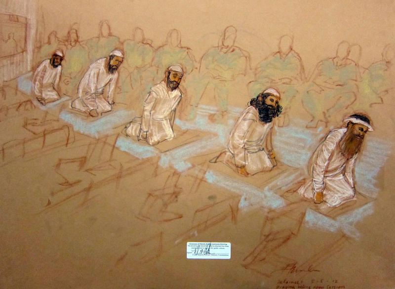 In this photo of a sketch by courtroom artist Janet Hamlin and reviewed by the U.S. Department of Defense, Mustafa Ahmad al-Hawsawi, Ammar al Baluchi, Ramzi Binalshibh, Walid bin Attash and Khalid Sheikh Mohammed pray during their arraignment at the Guantanamo Bay U.S. Naval Base in Cuba, Saturday, May 5, 2012. The self-proclaimed mastermind of the Sept. 11 attacks Khalid Sheikh Mohammed and four co-defendants defiantly disrupted an arraignment that dragged into Saturday night in the opening act of the long-stalled effort to prosecute them in a military court. (AP Photo/Janet Hamlin, Pool)