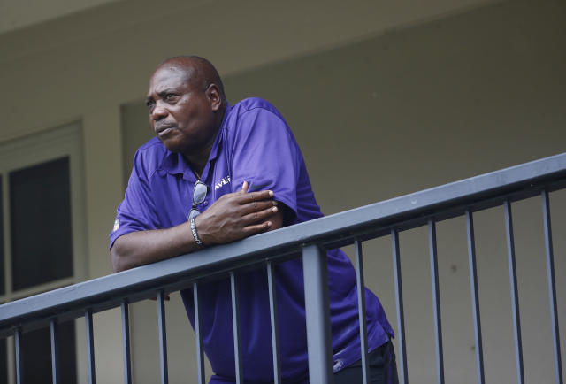 FILE - In this July 28, 2017, file photo, Baltimore Ravens general manager and executive vice president Ozzie Newsome looks out over practice fields following an NFL football training camp practice, in Owings Mills, Md. A year ago, Ravens general manager Ozzie Newsome spent the offseason improving the team's defense. This winter, he's focusing on the offense. (AP Photo/Patrick Semansky, File)