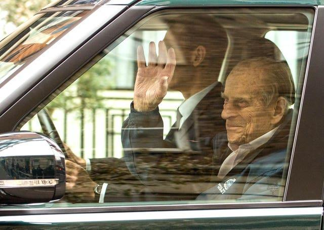 Philip leaving King Edward VII's Hospital after hip surgery in 2018. (Dominic Lipinski/PA Wire)