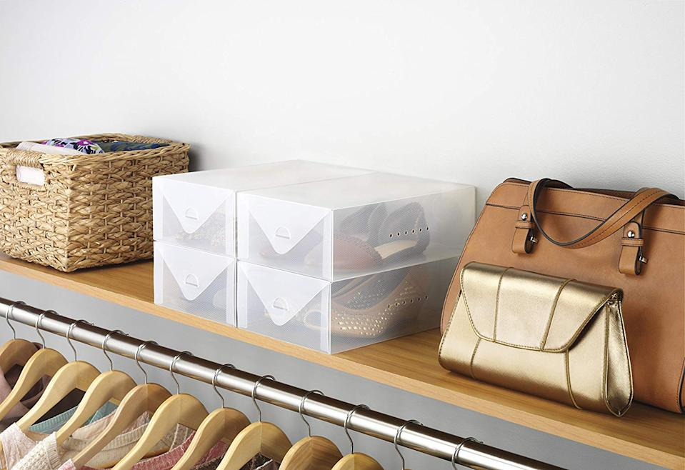 """<h3><a href=""""https://amzn.to/2GD5lZG"""" rel=""""nofollow noopener"""" target=""""_blank"""" data-ylk=""""slk:Whitmore Clear Shoe Storage Boxes"""" class=""""link rapid-noclick-resp"""">Whitmore Clear Shoe Storage Boxes</a></h3><br>A top storage seller from our <a href=""""https://www.refinery29.com/en-us/best-home-organization-storage-products"""" rel=""""nofollow noopener"""" target=""""_blank"""" data-ylk=""""slk:finally-get-your-home-together-in-2020"""" class=""""link rapid-noclick-resp"""">finally-get-your-home-together-in-2020</a> initiative — readers were all about scooping up these see-through boxes as one sharp solution for stashing (and chicly displaying) shoes. <br><br><strong>Whitmor</strong> Clear Vue Stackable Shoe Box (Set of 4), $, available at <a href=""""https://amzn.to/2Q0o2w8"""" rel=""""nofollow noopener"""" target=""""_blank"""" data-ylk=""""slk:Amazon"""" class=""""link rapid-noclick-resp"""">Amazon</a>"""