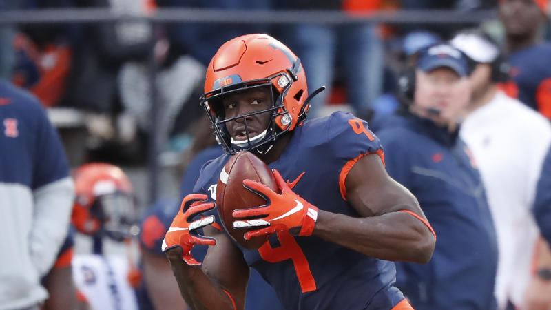 Illinois wide receiver Josh Imatorbhebhe has nine receiving touchdowns in 2019. (AP Photo/Charles Rex Arbogast)