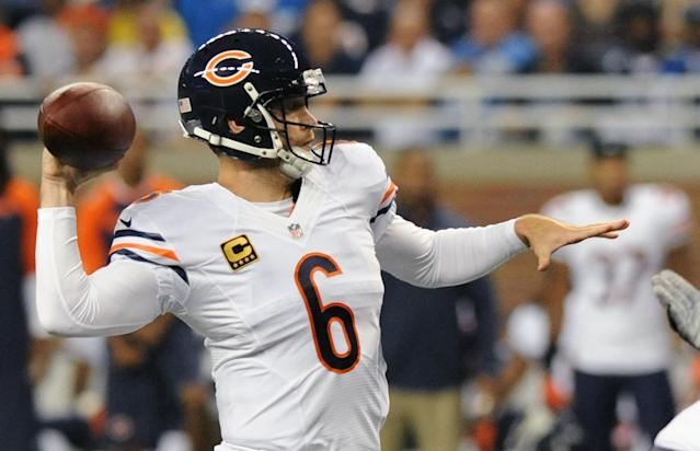 Chicago Bears quarterback Jay Cutler (6) throws during the first quarter of an NFL football game against the Detroit Lions at Ford Field in Detroit, Sunday, Sept. 29, 2013. (AP Photo/Jose Juarez)