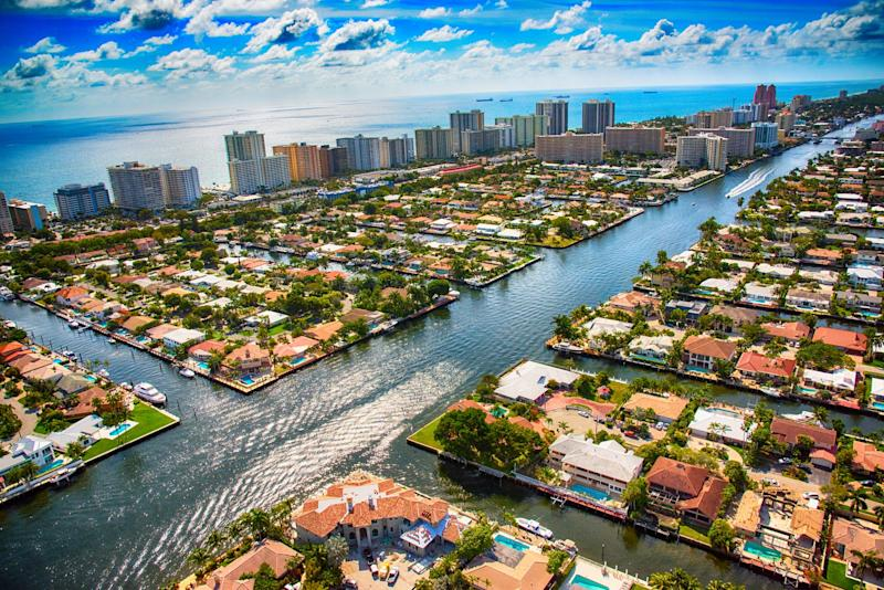 Rising ocean levels could significantly harm communities such as Pompano Beach, along the Intracoastal Waterway in Broward County, Florida.