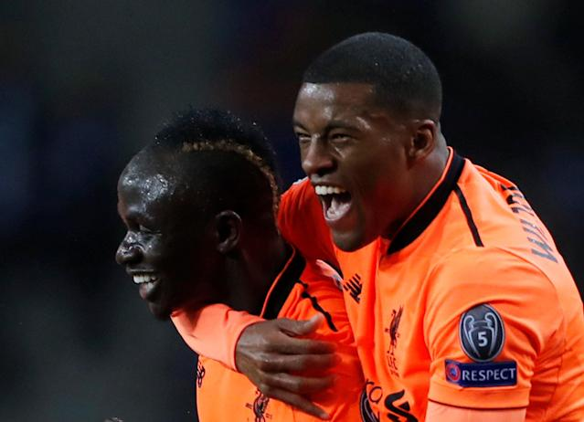 Soccer Football - Champions League Round of 16 First Leg - FC Porto vs Liverpool - Estadio do Dragao, Porto, Portugal - February 14, 2018 Liverpool's Sadio Mane celebrates scoring their first goal with Georginio Wijnaldum Action Images via Reuters/Matthew Childs
