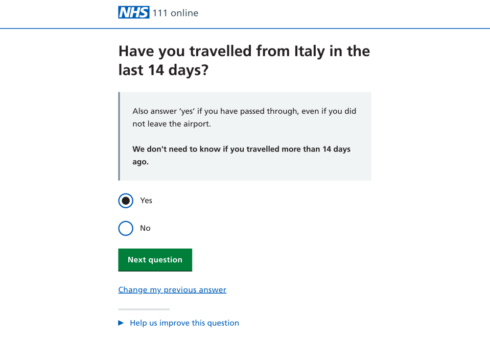The questionnaire asks if the user has visited coronavirus-hit Italy in the last two weeks.