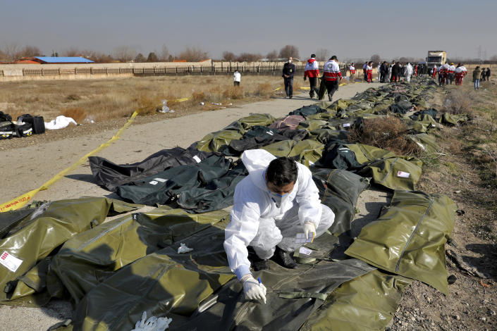 A forensic investigator works at the scene of a Ukrainian plane crash as bodies of the victims are collected, in Shahedshahr, southwest of the capital Tehran, Iran, Wednesday, Jan. 8, 2020. (Photo: Ebrahim Noroozi/AP)
