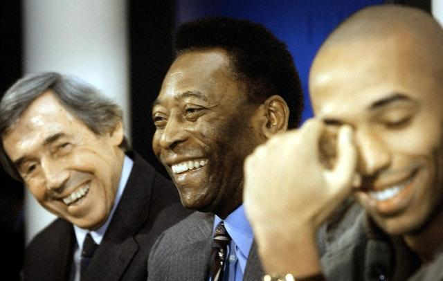 England goalkeeper Gordon Banks (left), Brazil's Pele (centre) and France and Arsenal striker Thierry Henry