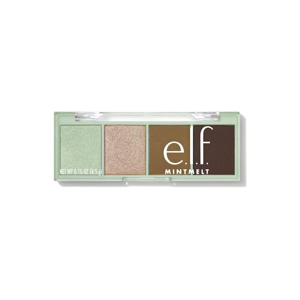 """<h3>E.l.f Cosmetics Eyeshadow</h3><br>This pigment-packed eyeshadow quad packs a refreshing punch with its combination of minty and chocolatey neutral hues. Hyland's makeup artist, Allan Avendaño, layered the tones together to create a multi-dimensional shadow movement that would pop against the star's red dress (and <a href=""""https://www.refinery29.com/en-us/2021/02/10330385/sarah-hyland-red-hair-color"""" rel=""""nofollow noopener"""" target=""""_blank"""" data-ylk=""""slk:hair"""" class=""""link rapid-noclick-resp"""">hair</a>).<br><br><strong>ELF Cosmetics</strong> Mint Melt Eyeshadows, $, available at <a href=""""https://go.skimresources.com/?id=30283X879131&url=https%3A%2F%2Fwww.elfcosmetics.com%2Fmint-melt-eyeshadows%2F82366.html"""" rel=""""nofollow noopener"""" target=""""_blank"""" data-ylk=""""slk:ELF Cosmetics"""" class=""""link rapid-noclick-resp"""">ELF Cosmetics</a>"""