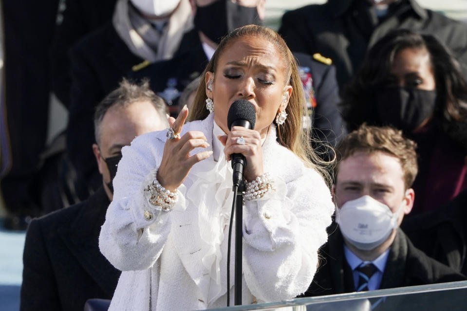 Jennifer Lopez sings during the 59th Presidential Inauguration at the U.S. Capitol in Washington, Wednesday, Jan. 20, 2021. (AP Photo/Patrick Semansky, Pool)