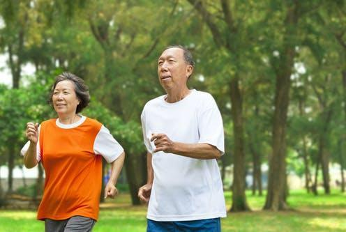 """<span class=""""caption"""">Exercise is important for maintaining muscle mass.</span> <span class=""""attribution""""><a class=""""link rapid-noclick-resp"""" href=""""https://www.shutterstock.com/image-photo/happy-senior-couple-running-together-park-189877862"""" rel=""""nofollow noopener"""" target=""""_blank"""" data-ylk=""""slk:Tom Wang/ Shutterstock"""">Tom Wang/ Shutterstock</a></span>"""